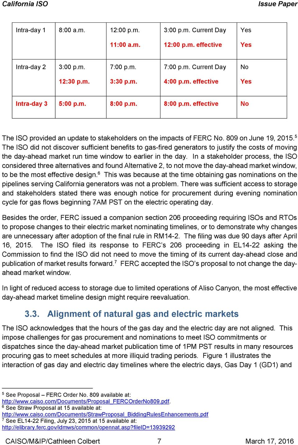 5 The ISO did not discover sufficient benefits to gas-fired generators to justify the costs of moving the day-ahead market run time window to earlier in the day.