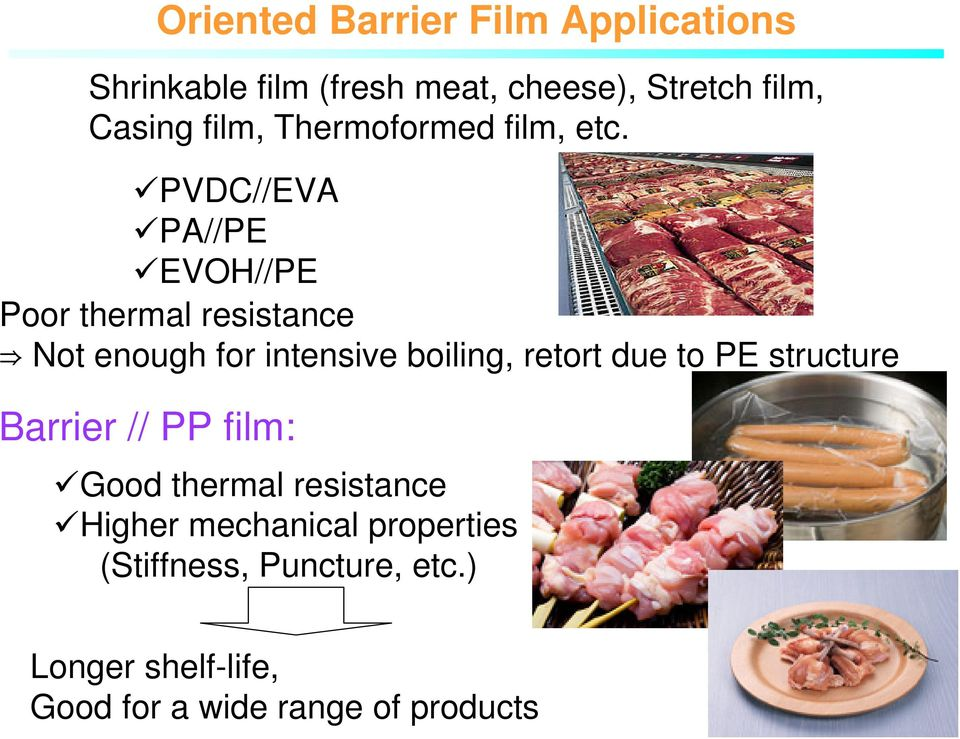 PVDC//EVA PA//PE EVOH//PE Poor thermal resistance Not enough for intensive boiling, retort due