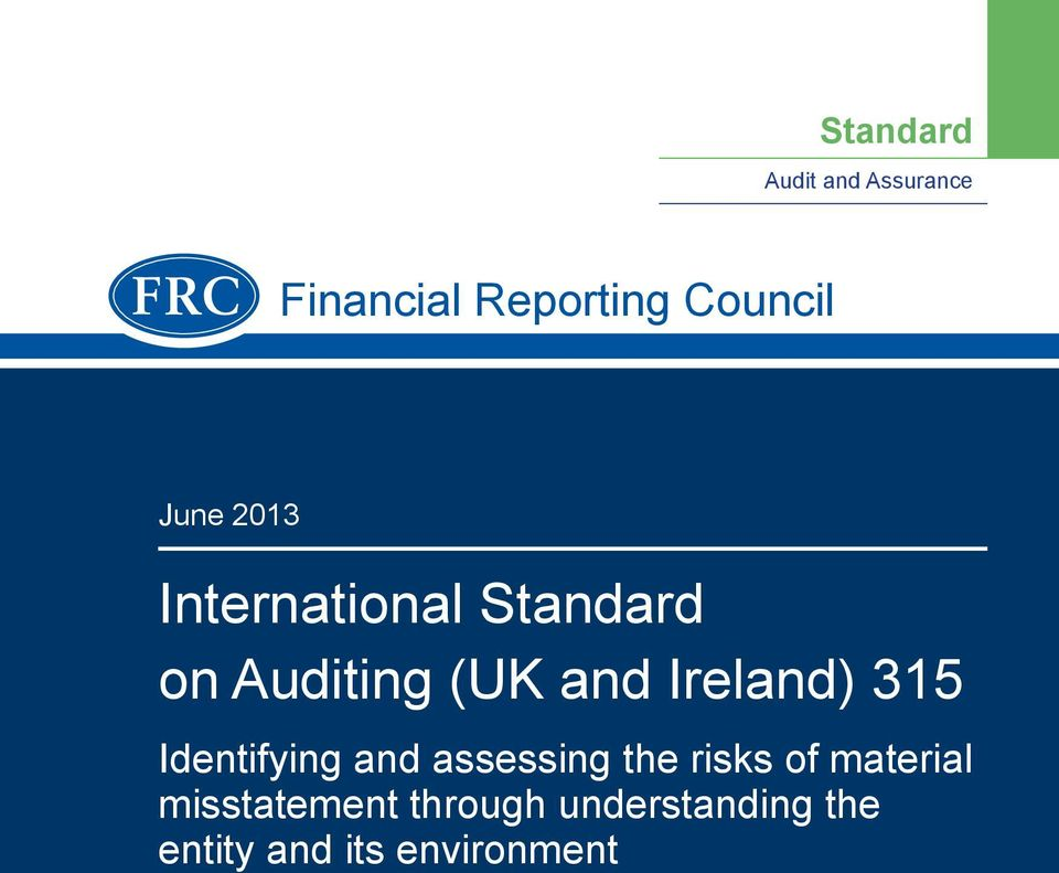 Ireland) 315 Identifying and assessing the risks of