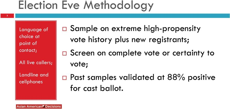 high-propensity vote history plus new registrants; Screen on complete