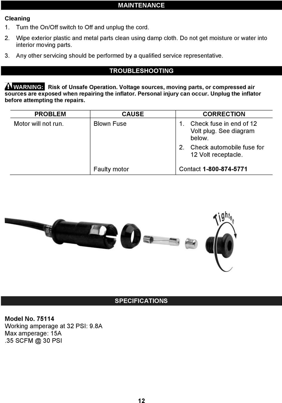 Operator S Manual 12v Inflator Model No Safety Guidelines Assembly Howreplaceblownfuse6427 Voltage Sources Moving Parts Or Compressed Air Are Exposed When Repairing The