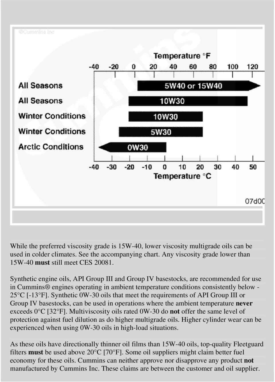 Synthetic engine oils, API Group III and Group IV basestocks, are recommended for use in Cummins engines operating in ambient temperature conditions consistently below - 25 C [-13 F].