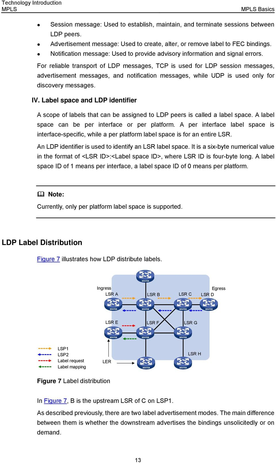 For reliable transport of LDP messages, TCP is used for LDP session messages, advertisement messages, and notification messages, while UDP is used only for discovery messages. IV.