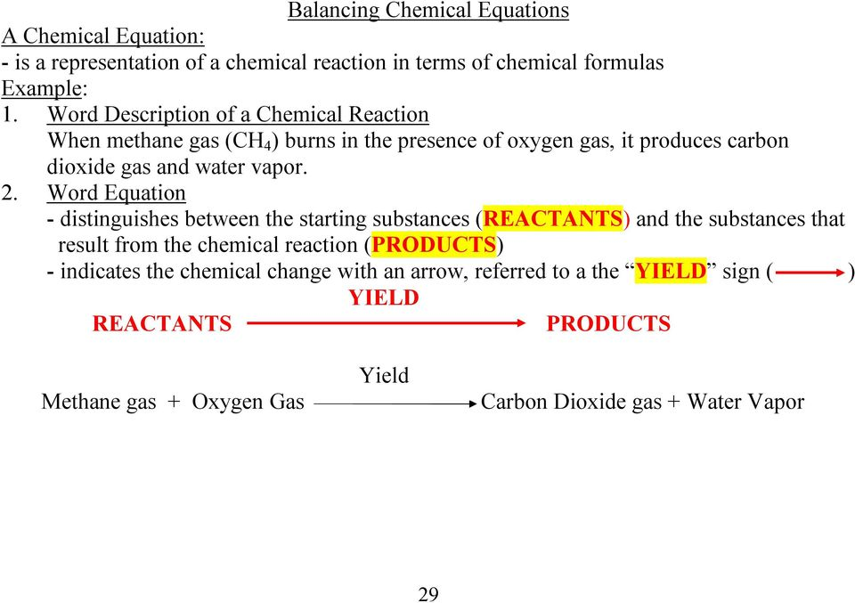 2. Word Equation distinguishes between the starting substances (REACTANTS) and the substances that result from the chemical reaction (PRODUCTS)