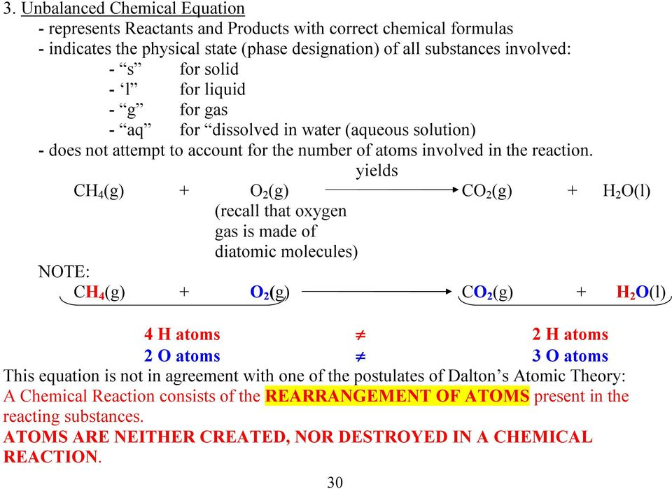 yields CH 4 (g) + O 2 (g) CO 2 (g) + H 2 O(l) (recall that oxygen gas is made of diatomic molecules) NOTE: CH 4 (g) + O 2 (g) CO 2 (g) + H 2 O(l) 4 H atoms 2 H atoms 2 O atoms 3 O atoms This