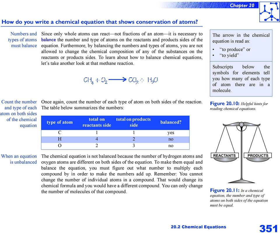 an atom it is necessary to balance the number and type of atoms on the reactants and products sides of the equation.