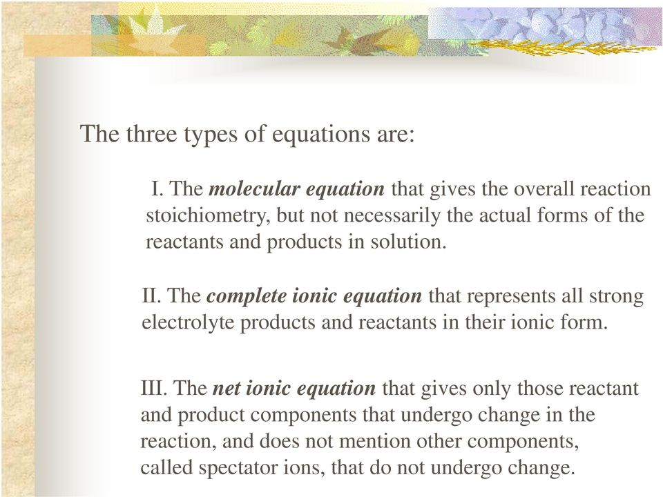 products in solution. II.