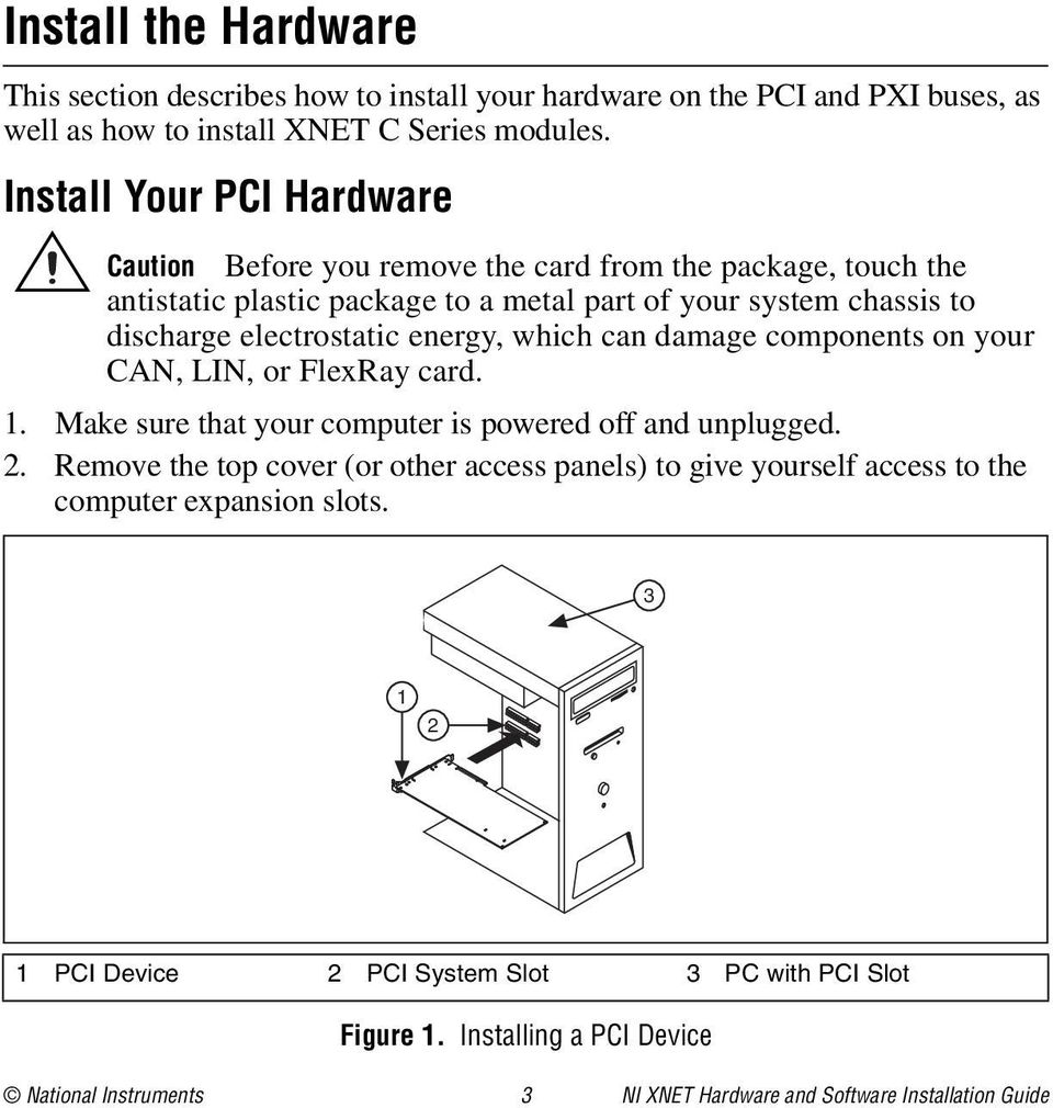 energy, which can damage components on your CAN, LIN, or FlexRay card. 1. Make sure that your computer is powered off and unplugged. 2.