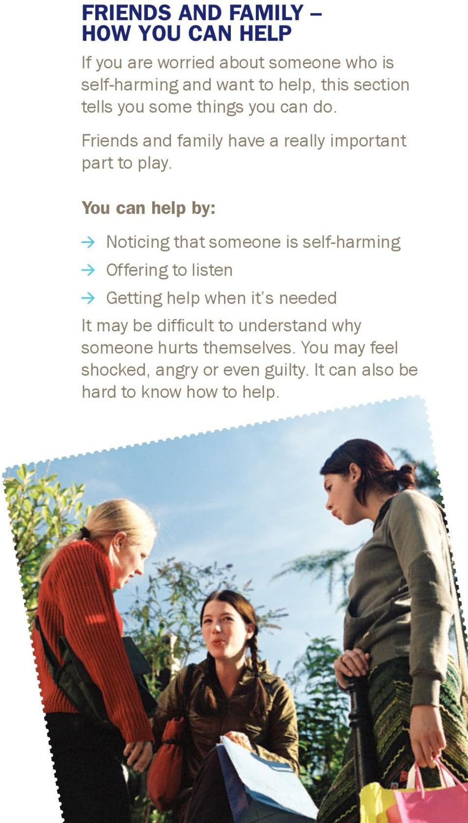 You can help by: Noticing that someone is self-harming Offering to listen Getting help when it s needed It may be