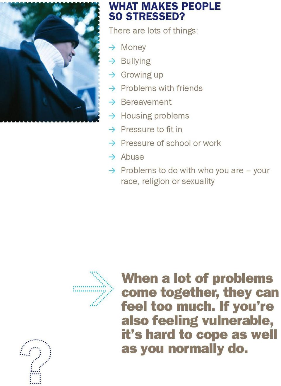 problems Pressure to fit in Pressure of school or work Abuse Problems to do with who you are your