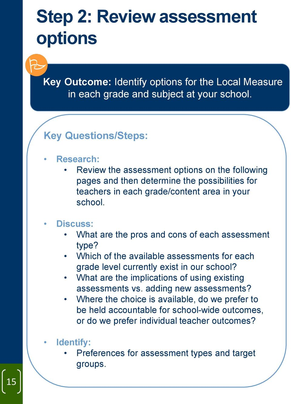 Discuss: What are the pros and cons of each assessment type? Which of the available assessments for each grade level currently exist in our school?