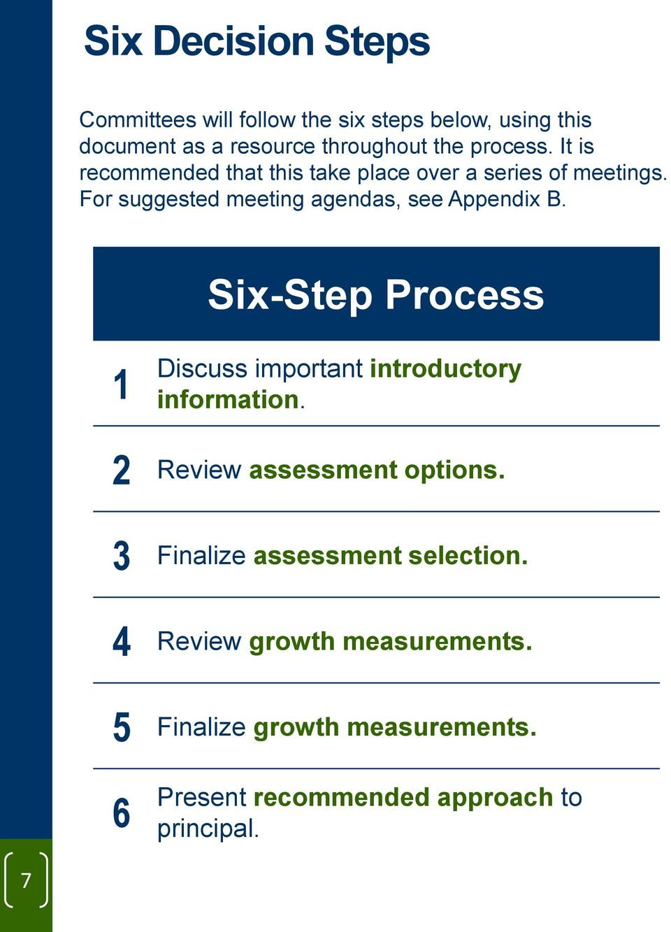 For suggested meeting agendas, see Appendix B. Six-Step Process 1 Discuss important introductory information.