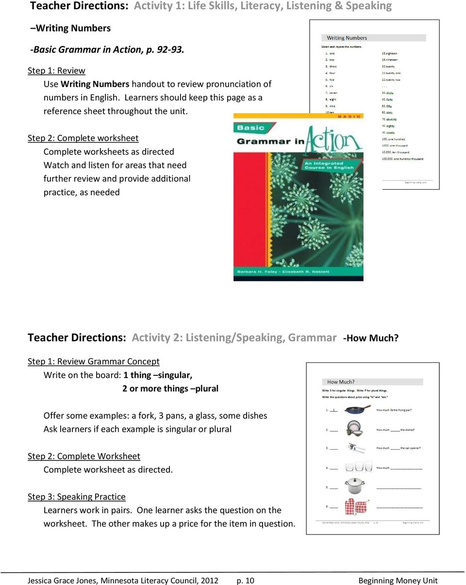 Step 2: Complete worksheet Complete worksheets as directed Watch and listen for areas that need further review and provide additional practice, as needed Teacher Directions: Activity 2: