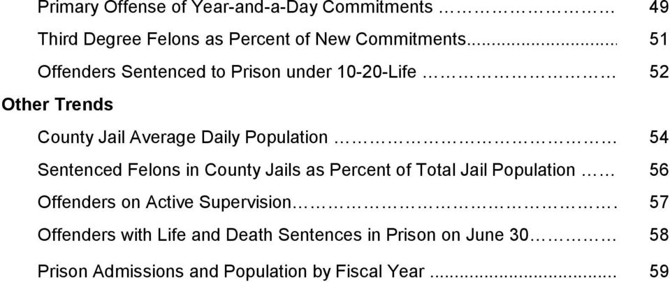 52 Other Trends County Jail Average Daily Population 54 Sentenced Felons in County Jails as Percent of Total
