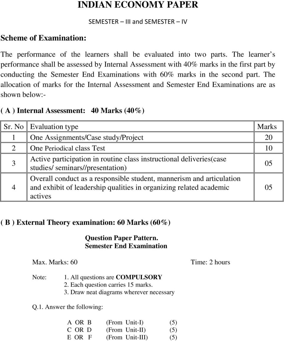 The allocation of marks for the Internal Assessment and Semester End Examinations are as shown below:- ( A ) Internal Assessment: 40 Marks (40%) Sr.