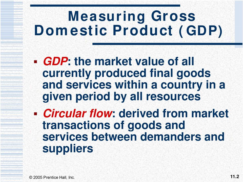 given period by all resources Circular flow: derived from market