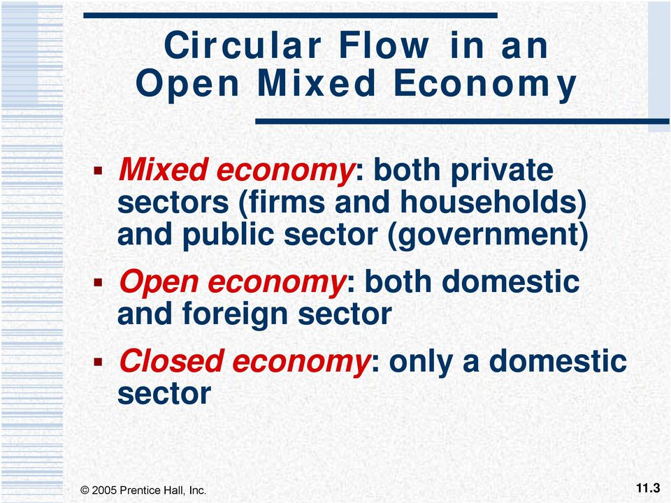 sector (government) Open economy: both domestic and