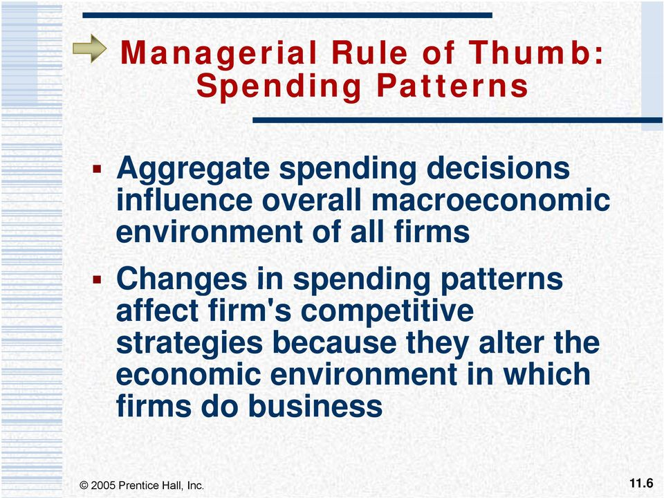 Changes in spending patterns affect firm's competitive strategies