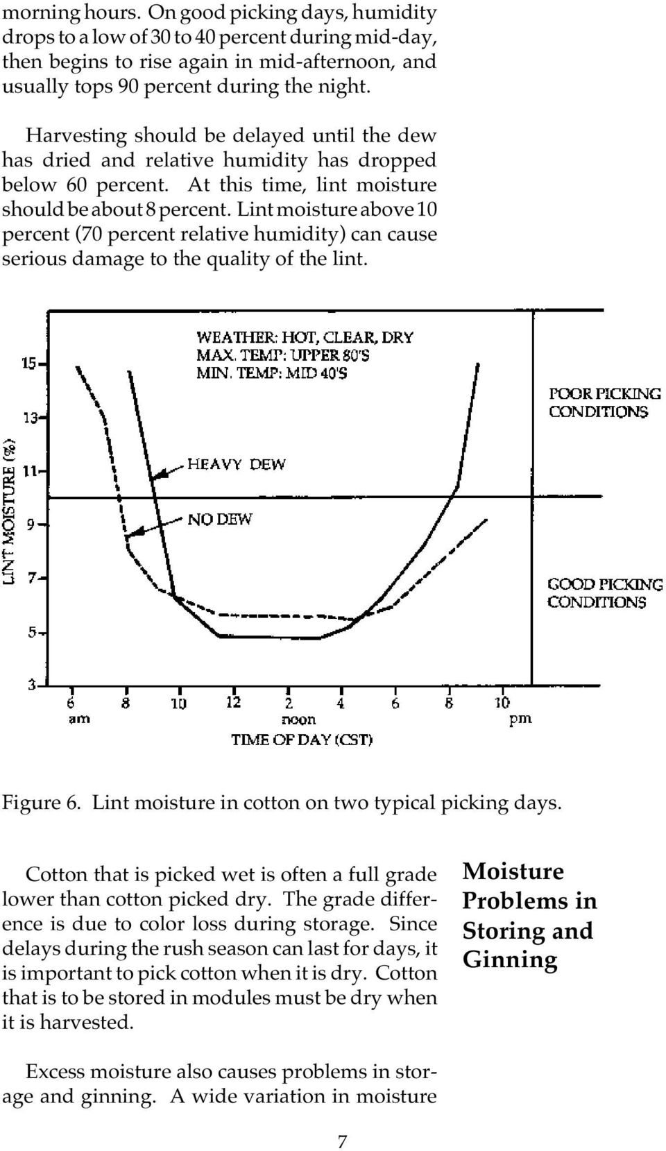 Lint moisture above 10 percent (70 percent relative humidity) can cause serious damage to the quality of the lint. Figure 6. Lint moisture in cotton on two typical picking days.