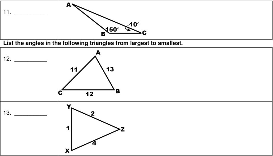 triangles from largest to