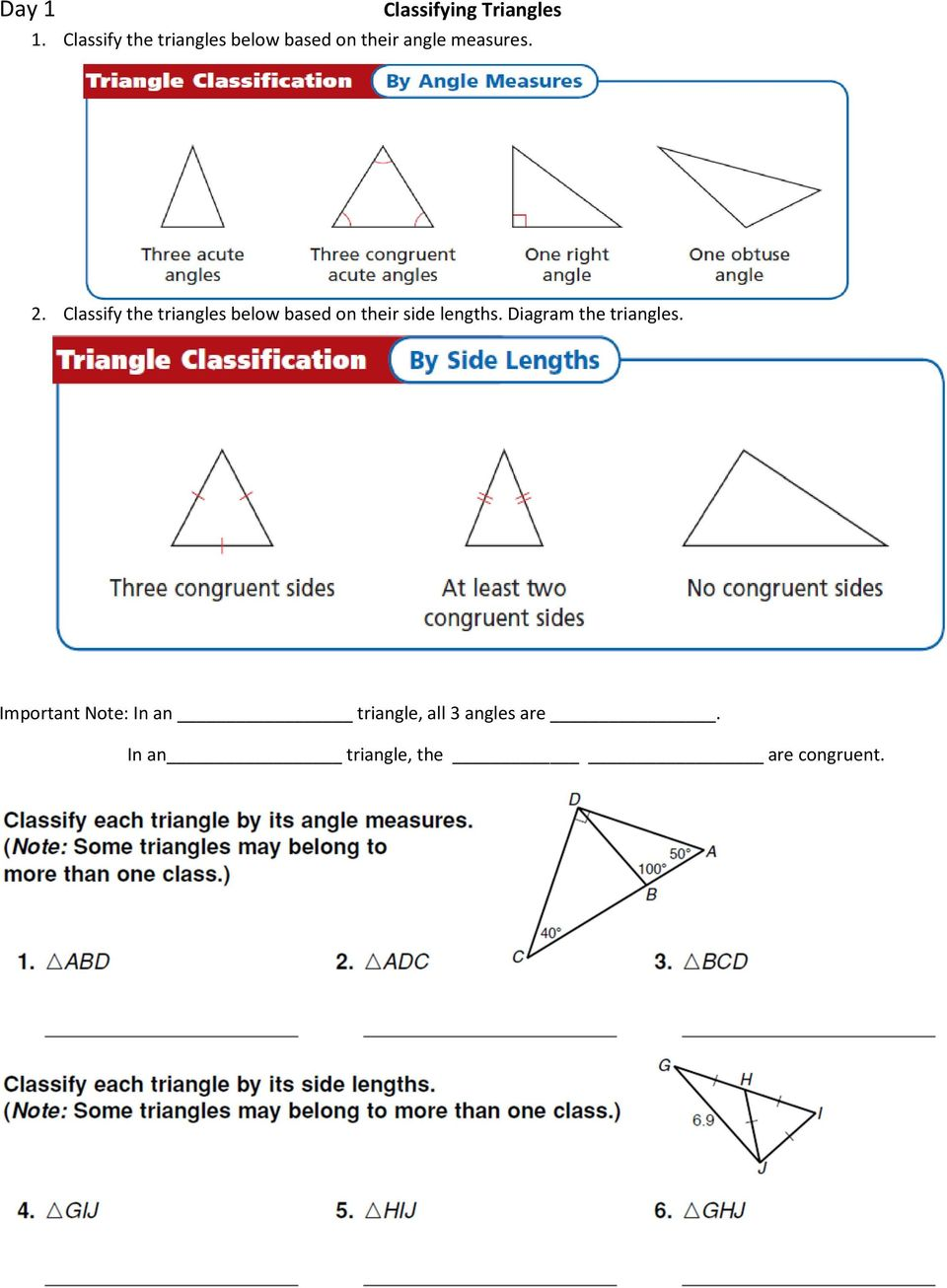 Classify the triangles below based on their side lengths.