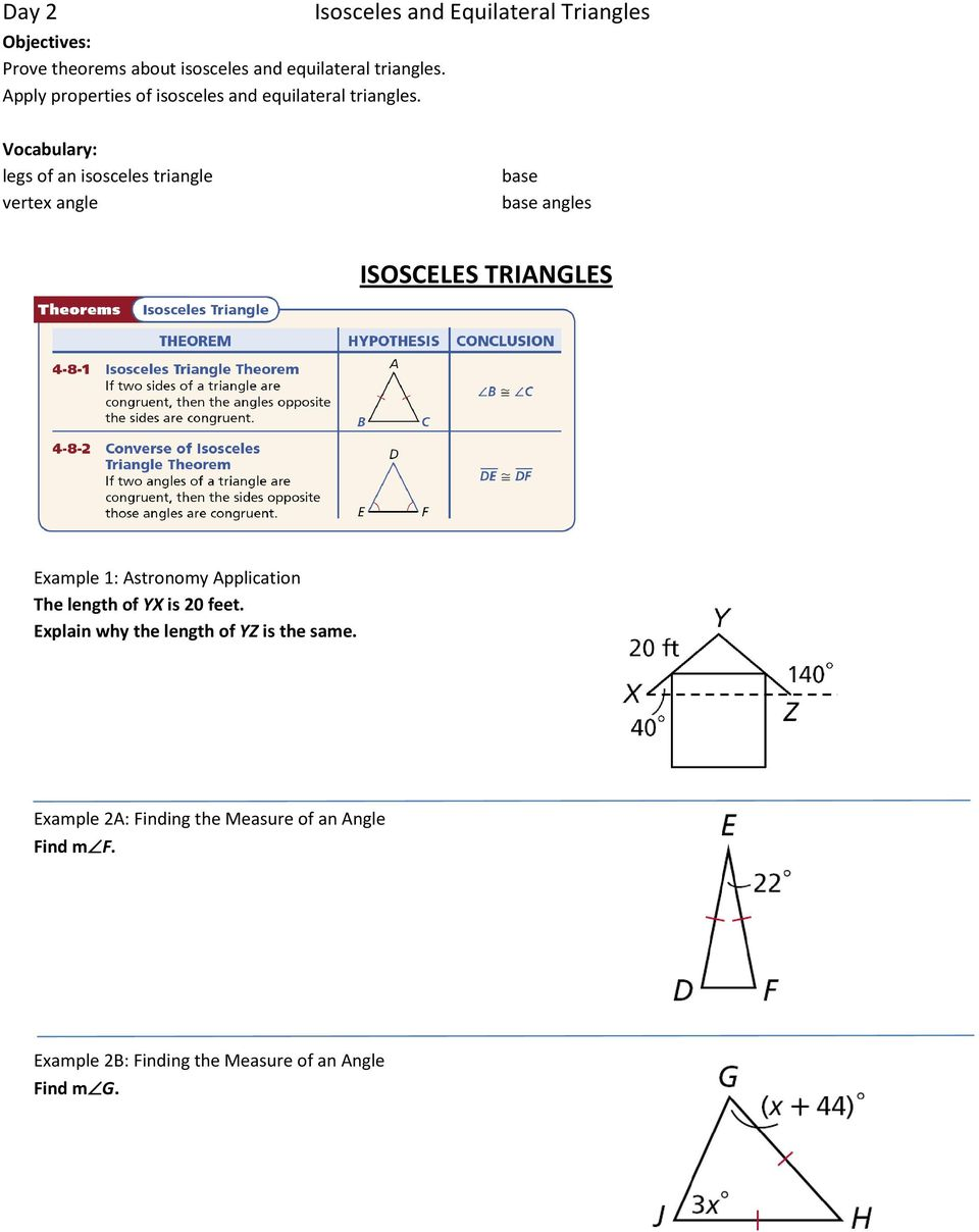 Isosceles and Equilateral Triangles Vocabulary: legs of an isosceles triangle vertex angle base base angles ISOSCELES