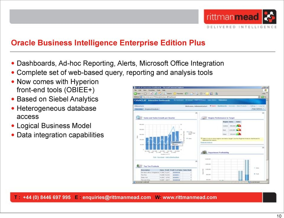 analysis tools Now comes with Hyperion front-end tools (OBIEE+) Based on Siebel