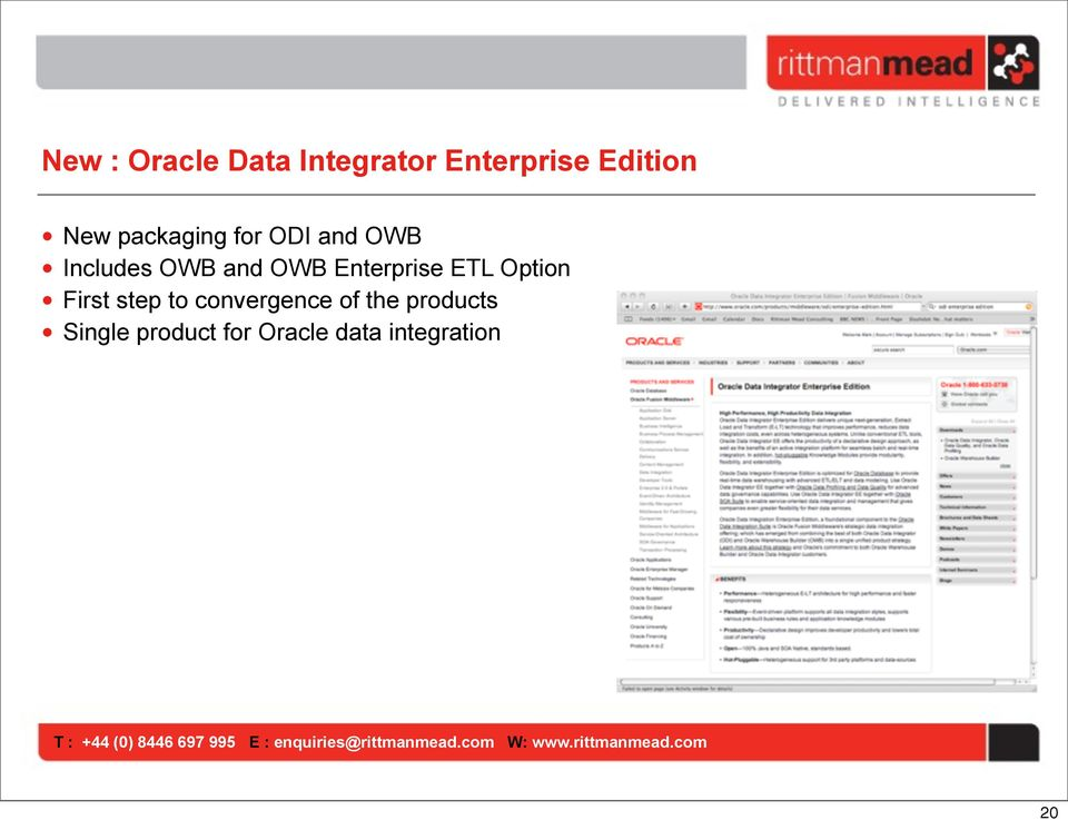 Enterprise ETL Option First step to convergence of