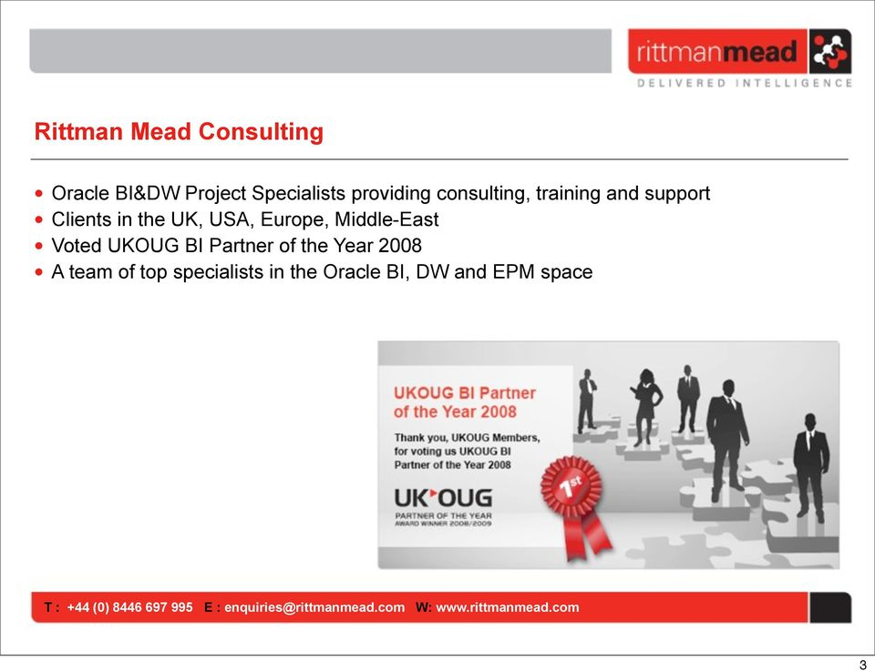 USA, Europe, Middle-East Voted UKOUG BI Partner of the Year