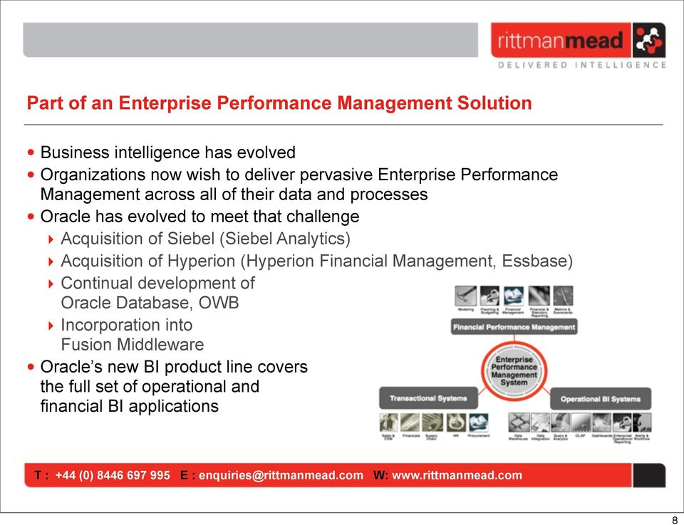 Siebel (Siebel Analytics) Acquisition of Hyperion (Hyperion Financial Management, Essbase) Continual development of Oracle Database,