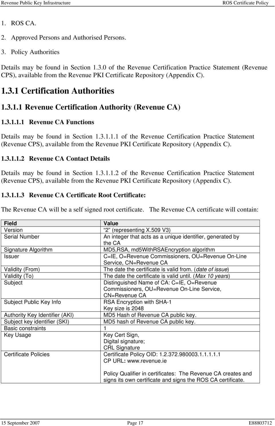 1.3.1.1.2 Revenue CA Contact Details Details may be found in Section 1.3.1.1.2 of the Revenue Certification Practice Statement (Revenue CPS), available from the Revenue PKI Certificate Repository (Appendix C).