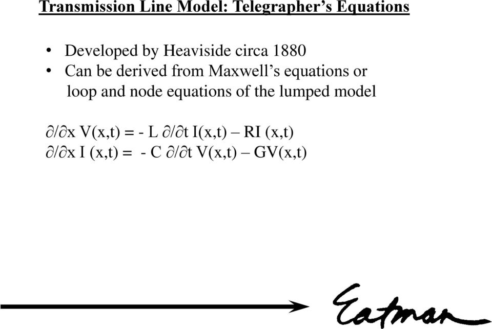 equations or loop and node equations of the lumped model / x