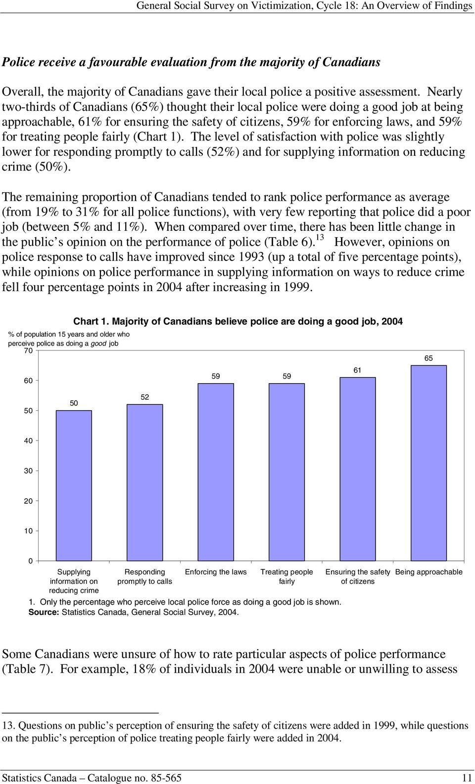 people fairly (Chart 1). The level of satisfaction with police was slightly lower for responding promptly to calls (52%) and for supplying information on reducing crime (50%).