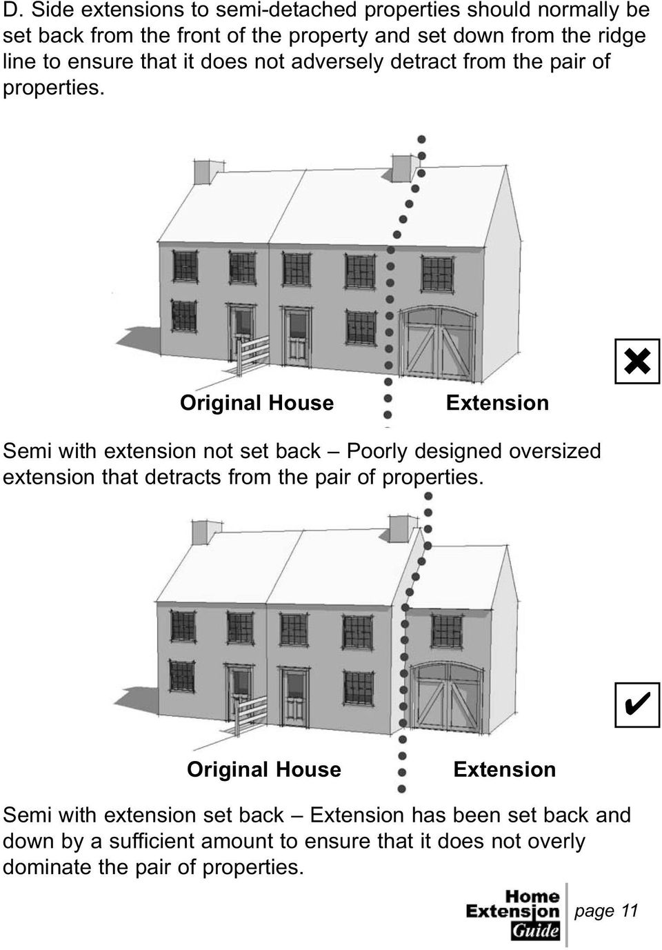 Original House Extension Semi with extension not set back Poorly designed oversized extension that detracts from the pair of