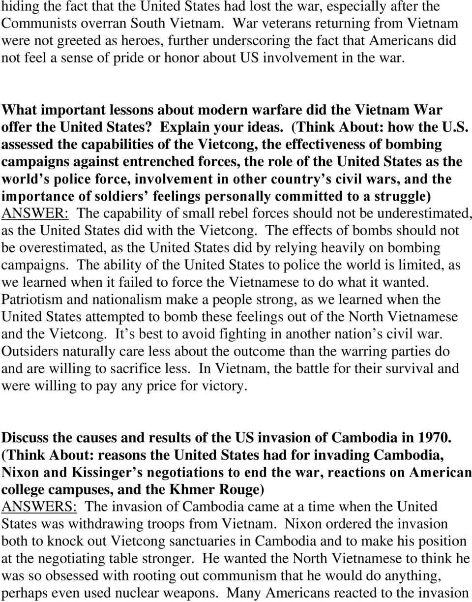 What important lessons about modern warfare did the Vietnam War offer the United St