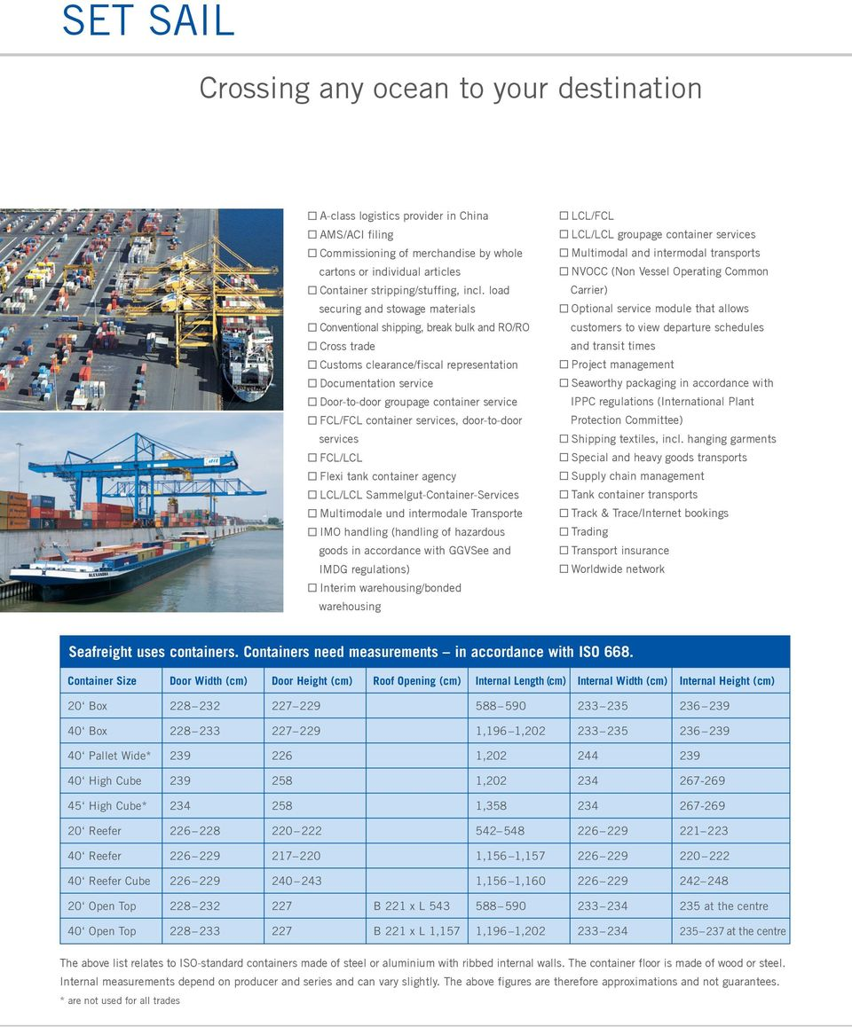 FCL/FCL container services, door-to-door services FCL/LCL Flexi tank container agency LCL/LCL Sammelgut-Container-Services Multimodale und intermodale Transporte IMO handling (handling of hazardous