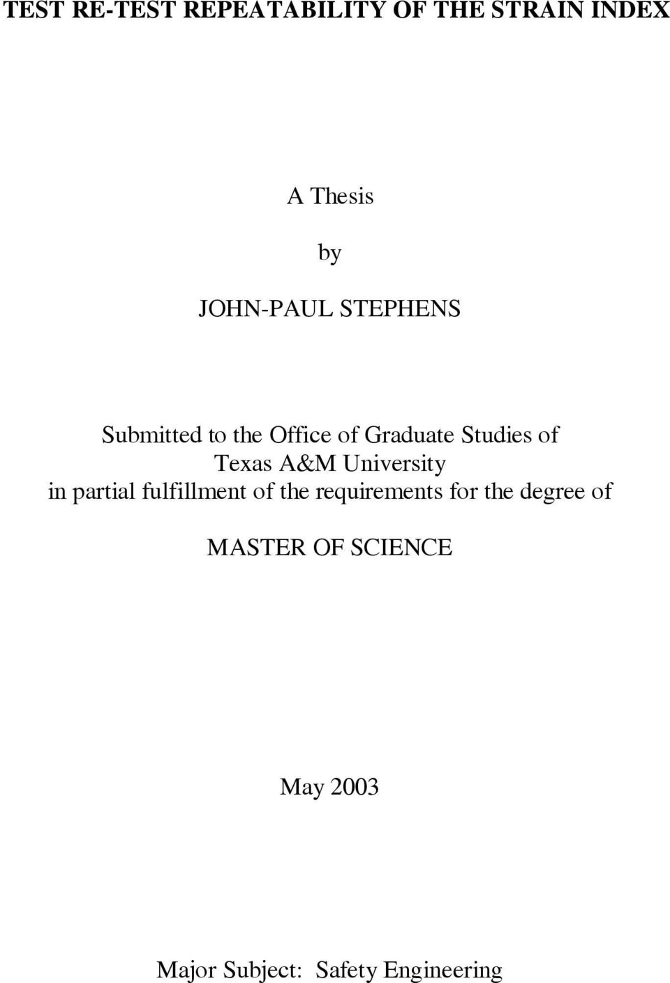 Texas A&M University in partial fulfillment of the requirements