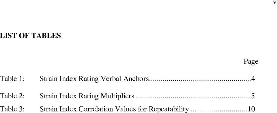 ..4 Table 2: Strain Index Rating Multipliers.