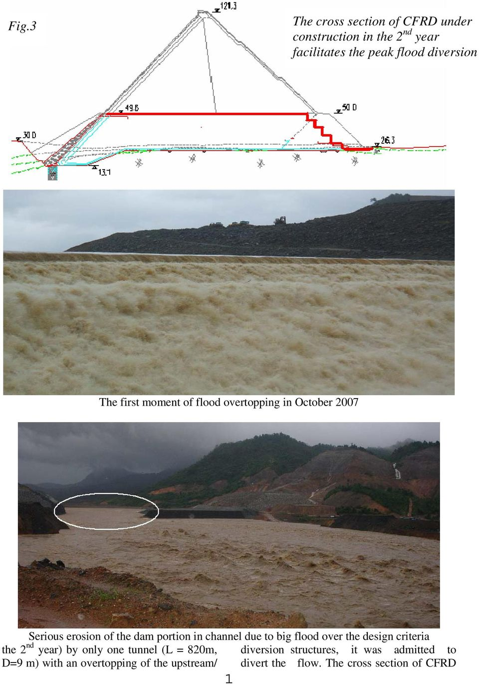 to big flood over the design criteria the 2 nd year) by only one tunnel (L = 820m, diversion structures,