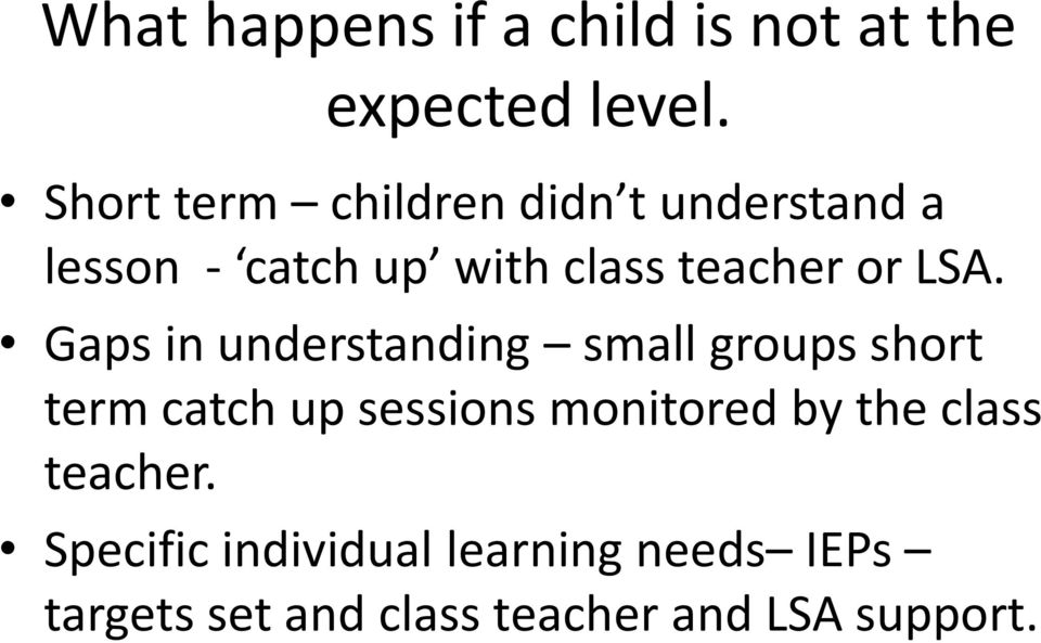 LSA. Gaps in understanding small groups short term catch up sessions monitored
