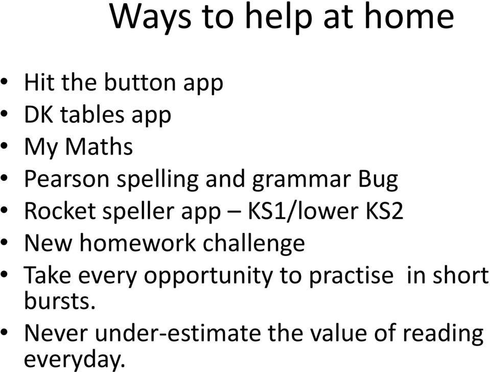 KS2 New homework challenge Take every opportunity to practise