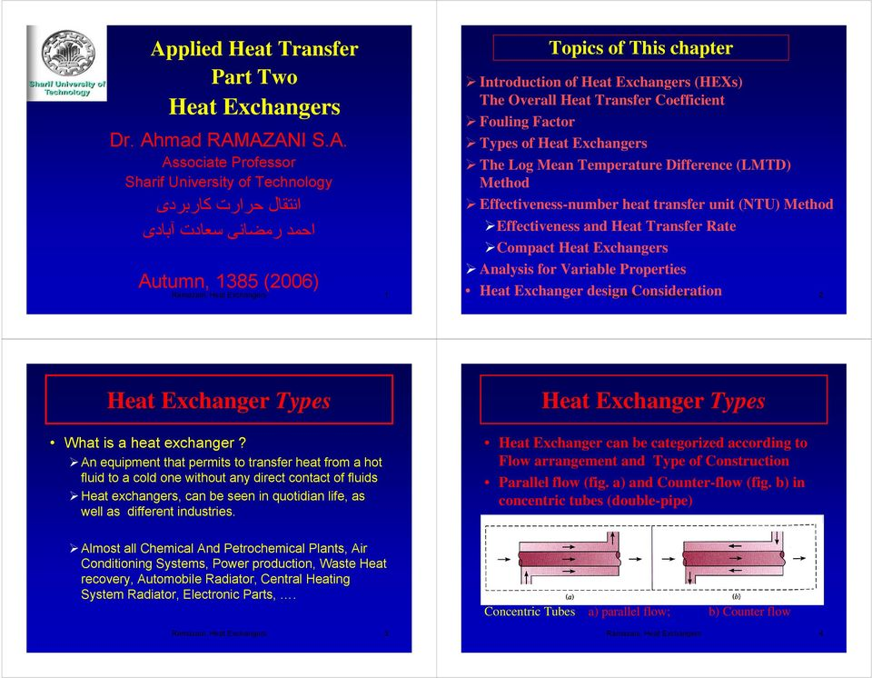 Effectiveness-number eat transfer unit (NTU) Metod Effectiveness and Heat Transfer Rate Compact Heat Excangers Analysis for Variable Properties Heat Excanger design Consideration Ramazani, Heat