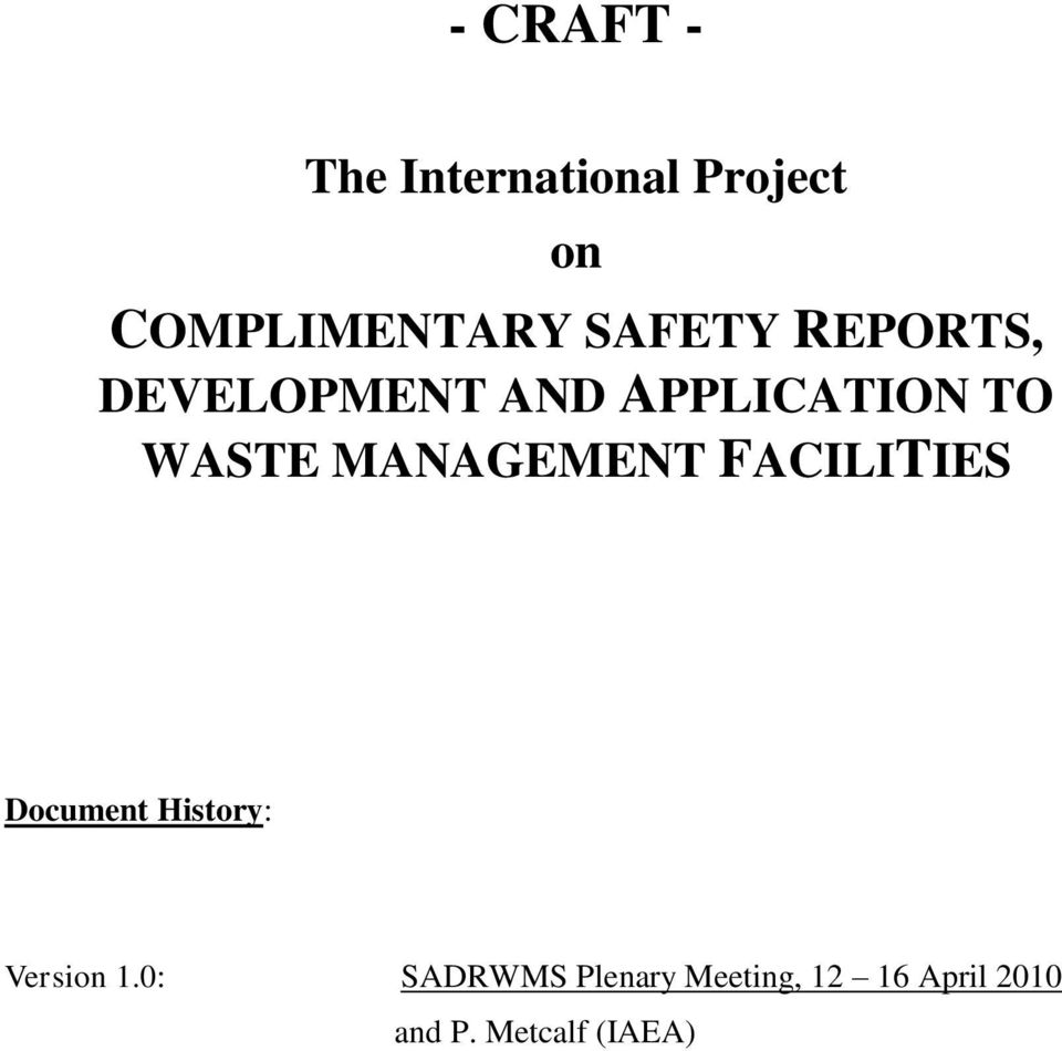 MANAGEMENT FACILITIES Document History: Version 1.