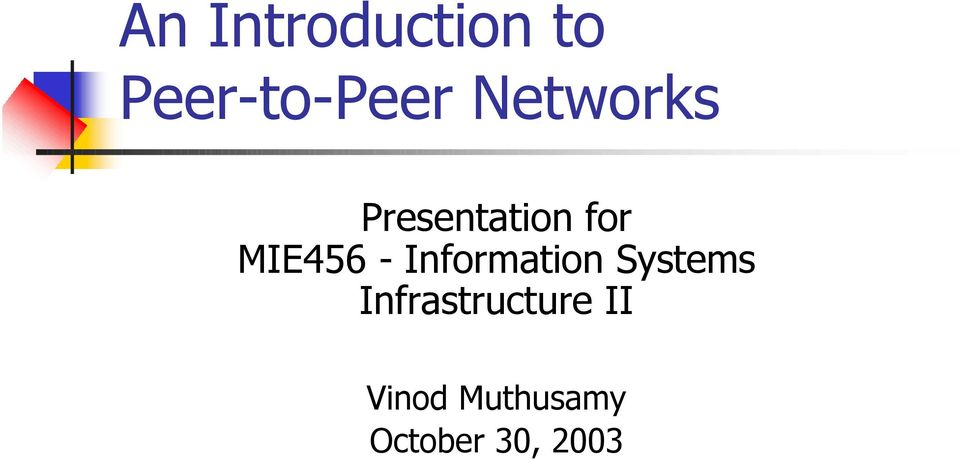 Information Systems Infrastructure
