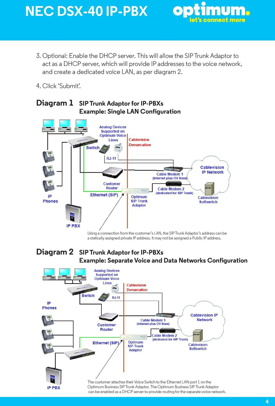 Diagram 1 SIP Trunk Adaptor for IP-PBXs Example: Single LAN Configuration Using a connection from the customer s LAN, the SIP Trunk Adaptor s address can be a statically assigned private IP address.