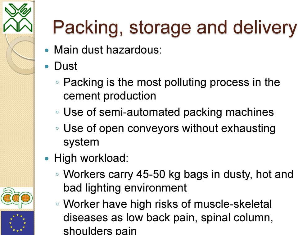 exhausting system High workload: Workers carry 45-50 kg bags in dusty, hot and bad lighting
