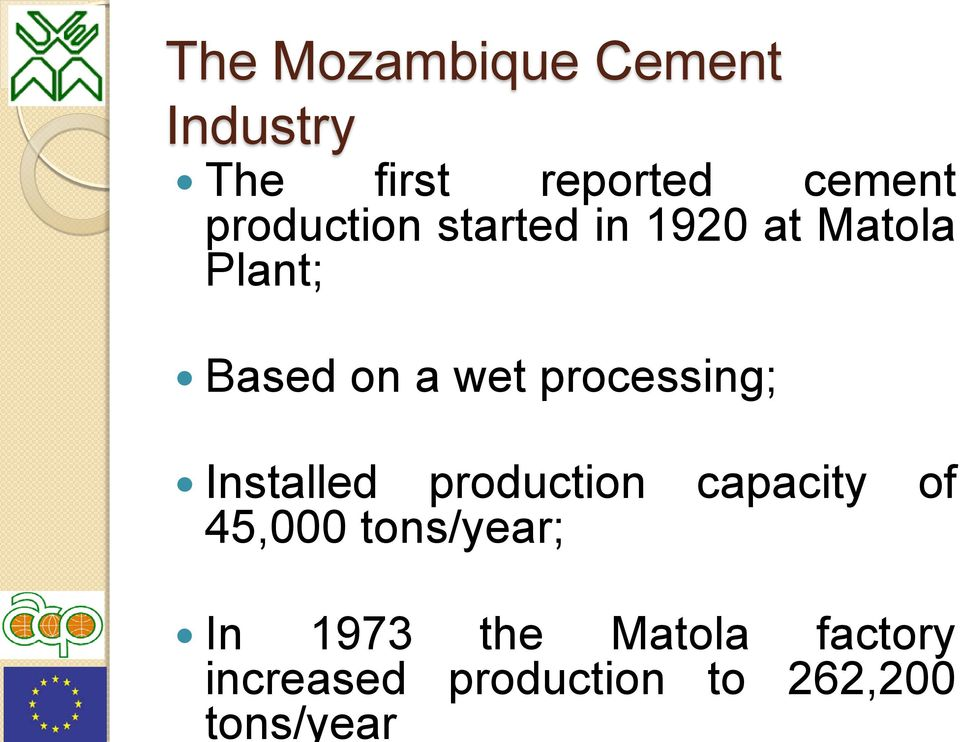 cement production started in 1920 at Matola Plant; Based on a