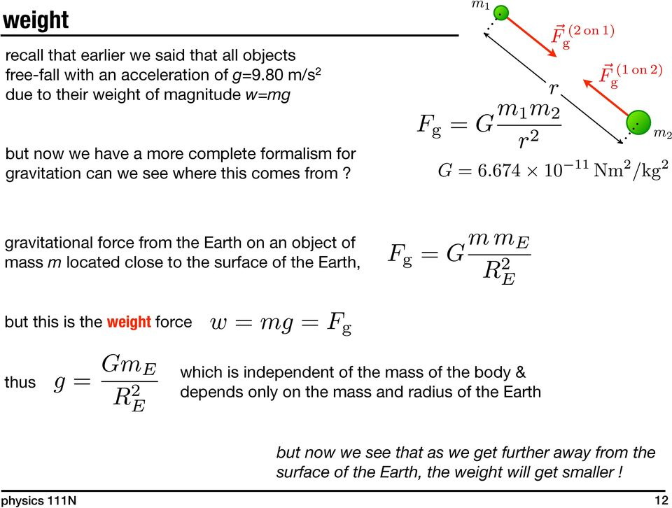 gravitational force from the Earth on an object of mass m located close to the surface of the Earth, but this is the weight force thus which is