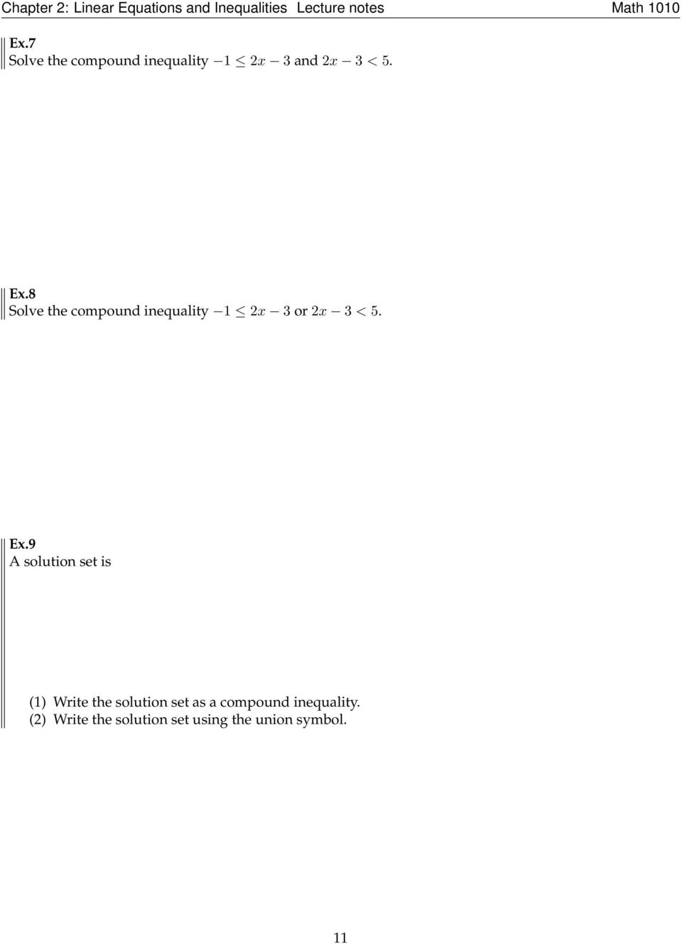 9 A solution set is (1) Write the solution set as a
