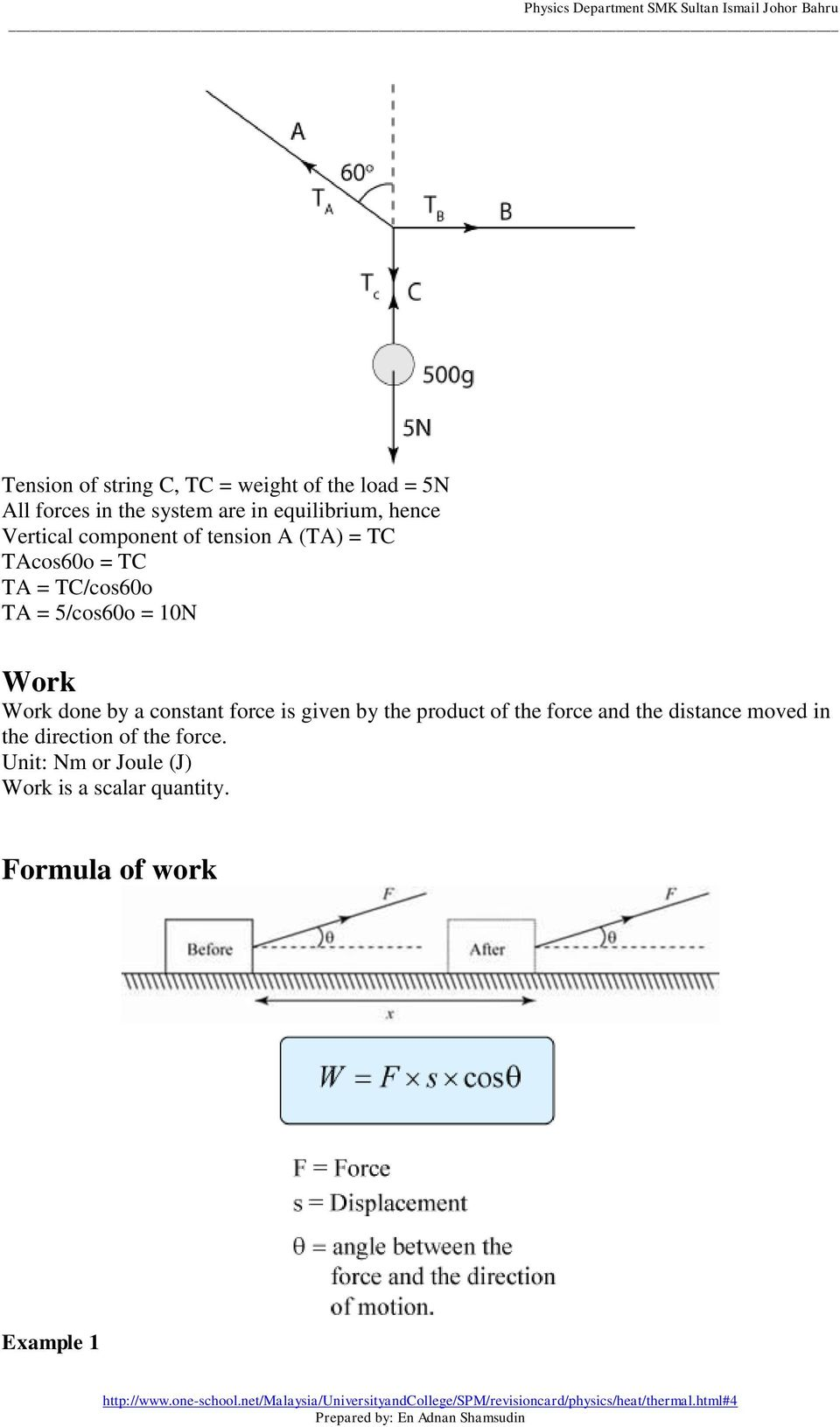 Work Work done by a constant force is given by the product of the force and the distance moved in